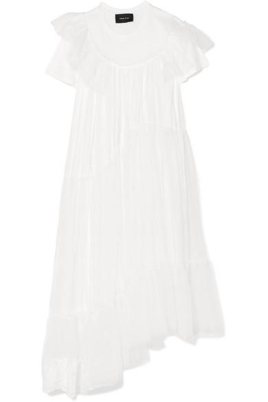 Simone Mehrlagiges Jersey Rocha Simone Baumwoll T眉ll und Kleid aus Rocha SqrSp