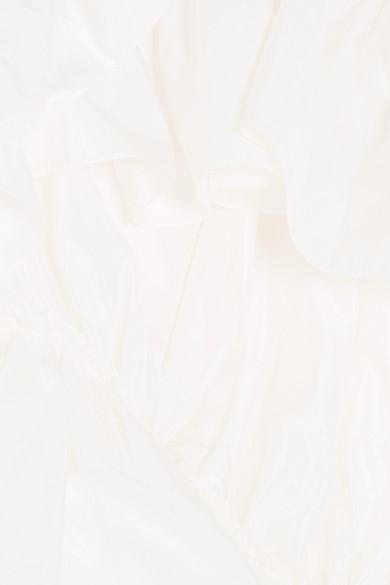 Simone Rocha Schulterfreies Oberteil aus Seidentaft mit Rüschen