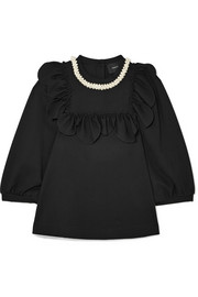 Simone Rocha Ruffled faux pearl-embellished stretch-jersey top