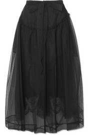 Gathered tulle midi skirt