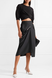 Convertible draped woven midi skirt