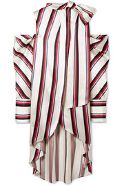 Monse Oversized cold-shoulder striped satin-twill blouse