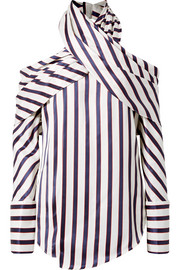 Asymmetric striped twill blouse