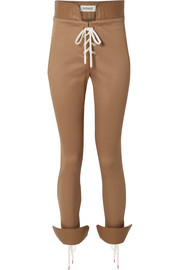 Lace-up leather-trimmed cotton-blend twill skinny pants