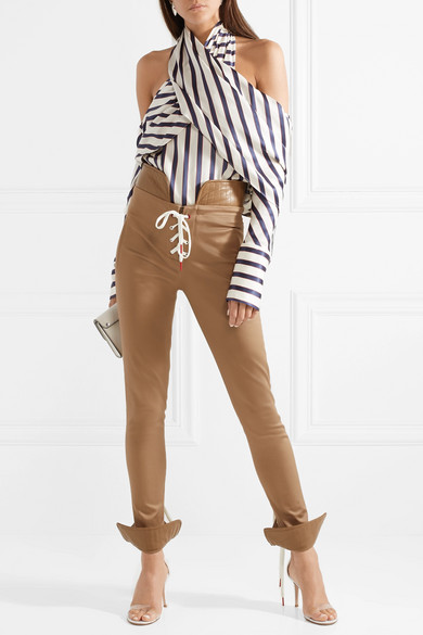 Lace-up Leather-trimmed Cotton-blend Twill Skinny Pants - Beige Monse uTiEc3
