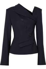 Asymmetric wool-blend twill blazer