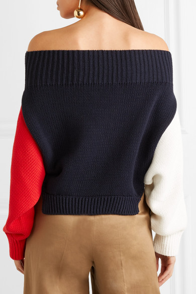 Monse Schulterfreier Baumwollpullover in Colour-Block-Optik