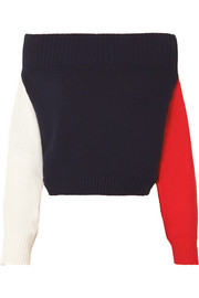 Monse Off-the-shoulder color-block cotton sweater
