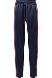 Snap-fastening striped silk-blend satin track pants