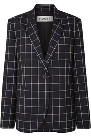 Lace-up checked wool-crepe blazer