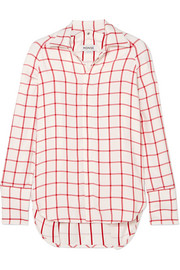 Snap-sleeved windowpane canvas shirt