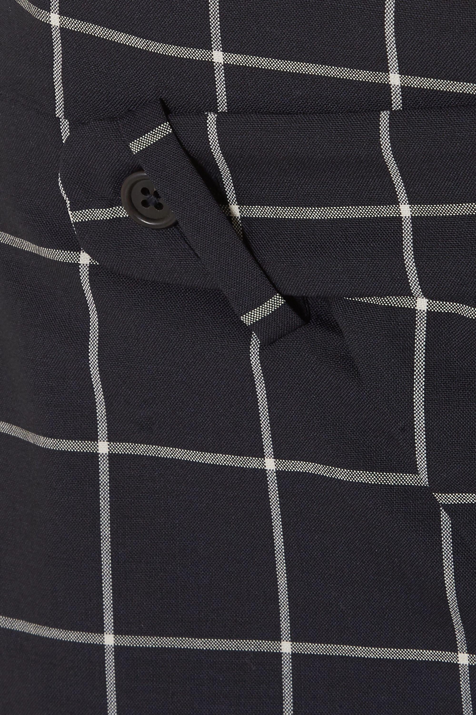 Monse Asymmetric layered checked wool-crepe shorts
