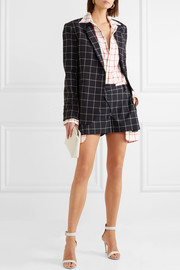 Asymmetric layered checked wool-crepe shorts