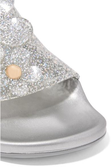 Marc Jacobs Daisy Pantoletten aus Gummi in Glitter-Optik mit Applikationen