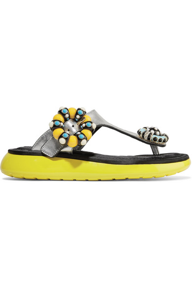Marc Jacobs Mabel verzierte Sandalen aus strukturiertem Metallic-Leder und Gummi