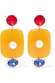 Marni Resin, crystal and faux pearl clip earrings