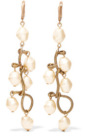 Marni Burnished gold-tone faux pearl earrings