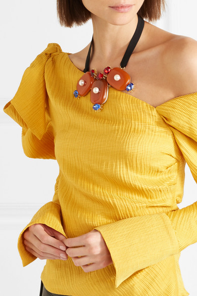 Marni Gold-tone, Horn, Crystal, Faux Pearl And Grosgrain Necklace - Orange