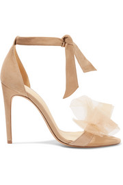 Clarita bow-embellished suede and tulle sandals