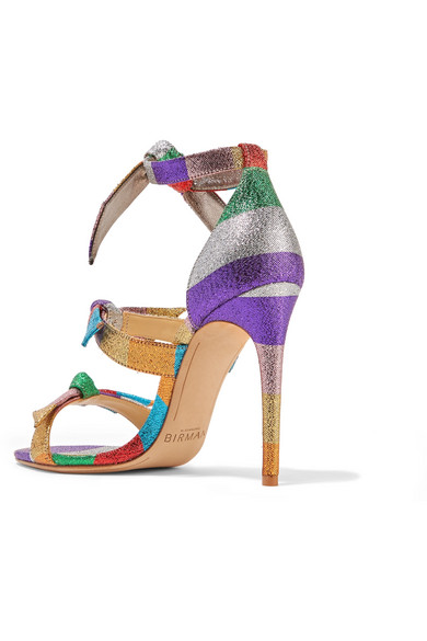 a27afd74f141 Alexandre Birman. Lolita bow-embellished striped lamé sandals.  312.50. Play