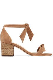 Clarita bow-embellished suede and raffia sandals