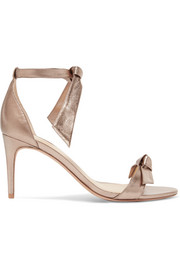 Clarita bow-embellished metallic leather sandals