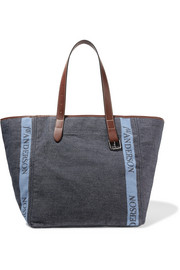 Leather-trimmed logo-printed canvas tote