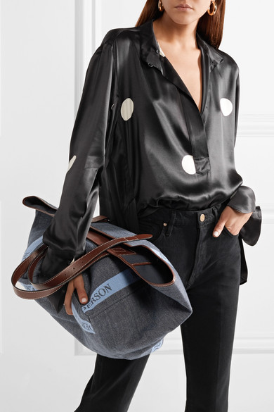 Jw anderson leather trimmed logo printed canvas tote for Net a porter logo