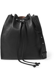 Drawstring textured-leather bucket bag