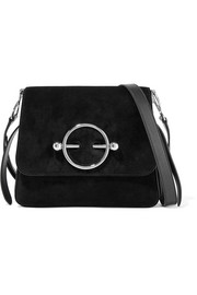 Disc suede and leather shoulder bag