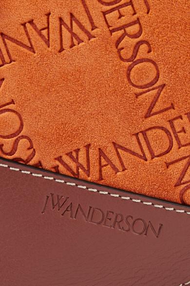 JW Anderson Pierce Schultertasche aus geprägtem Veloursleder mit Lederbesatz