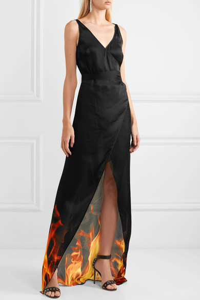 Printed Silk Wrap Maxi Dress - Black Gareth Pugh Cheapest Price Cheap Sale Wiki wifjTbeC7