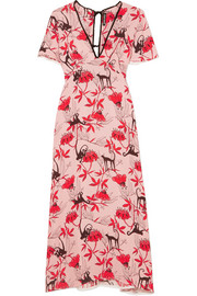 Ruffle-trimmed printed crepe de chine dress