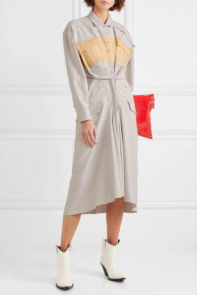Gathered Color-block Canvas And Poplin Midi Dress - Stone Carven kDuv4