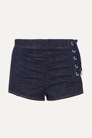 Lace-up ruched denim shorts