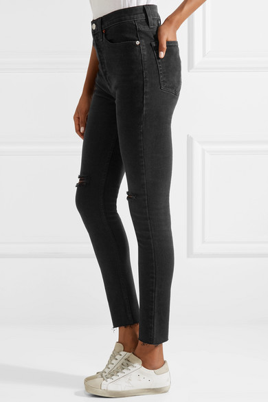 RE/DONE High Rise Ankle Crop Skinny Jeans in Distressed-Optik