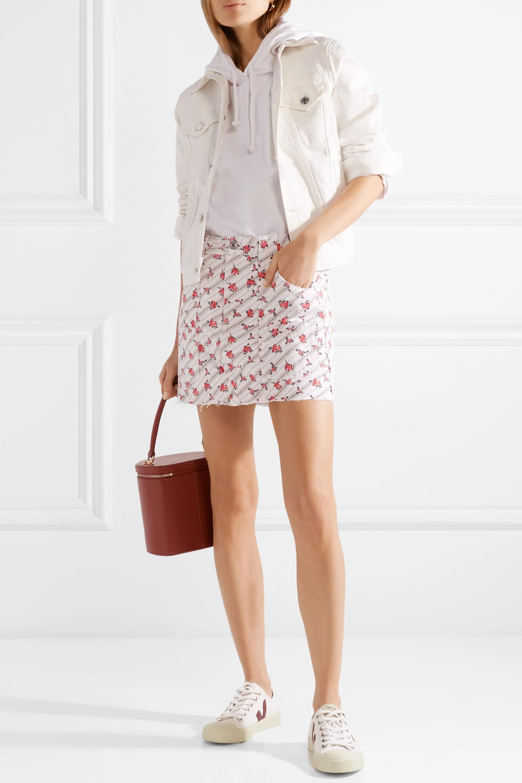 RE/DONE Cargo frayed printed denim mini skirt