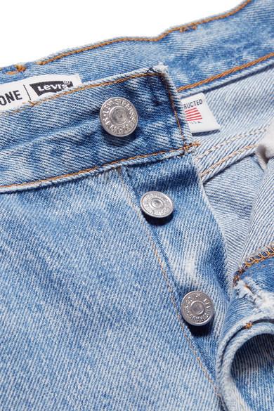 RE/DONE + Levi's hoch sitzende Jeans mit geradem Bein und Reißverschlussdetails in Distressed-Optik