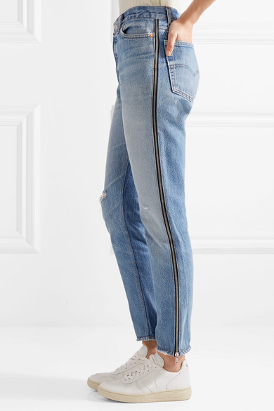 RE/DONE + Levi's hoch sitzende Jeans mit geradem Bein und Reißverschlussdetails in Distressed-Optik Mit Kreditkarte Günstig Online Neue Stile Günstig Online HT8E6Td
