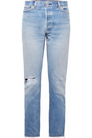 + Levi's zip-embellished distressed high-rise straight-leg jeans