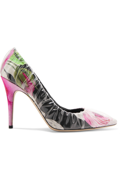 Off-White - C/o Jimmy Choo Anne 100 Pvc-wrapped Floral-print Satin Pumps - Pink