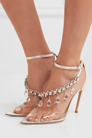 Off-White C/O Jimmy Choo Victoria 100 crystal-embellished satin and vinyl pumps