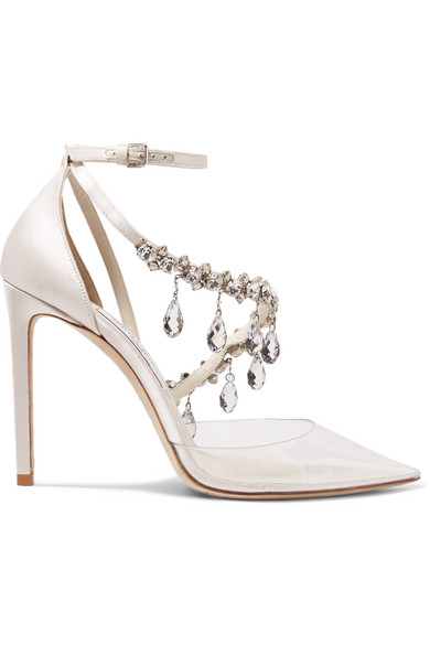 add33caff1f5 Off-White. C O Jimmy Choo Victoria 100 crystal-embellished satin and vinyl  pumps