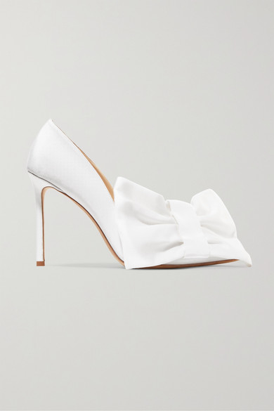 Off-White - C/o Jimmy Choo Mary 100 Bow-embellished Grosgrain Pumps