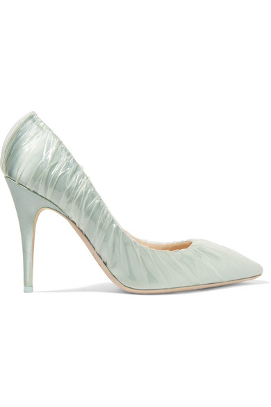 Off-White - C/o Jimmy Choo Anne 100 Pvc-wrapped Satin Pumps - Light blue
