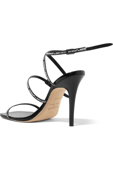 C/o Jimmy Choo Jane 100 Logo-embossed Leather Sandals - Black Off-white 4CCxGuR1j