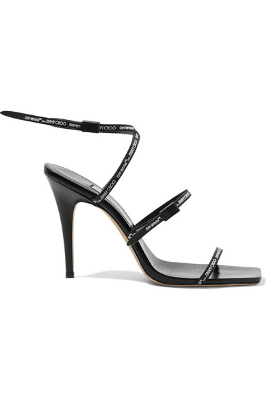 Off-White - C/o Jimmy Choo Jane 100 Logo-embossed Leather Sandals - Black