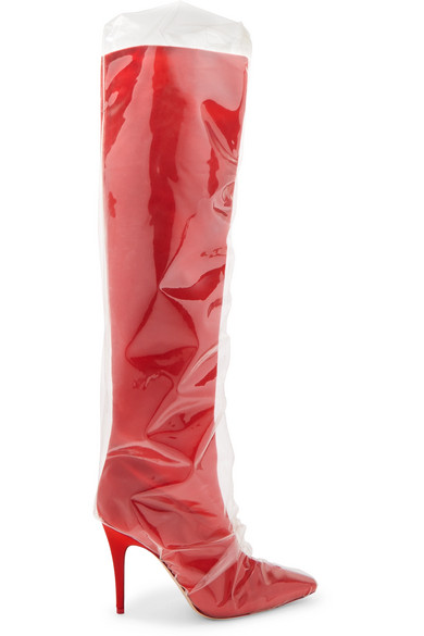 Off-White - C/o Jimmy Choo Elisabeth 100 Pvc-wrapped Satin Knee Boots - Red