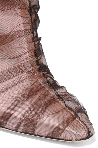 Off-White C/O Jimmy Choo Elisabeth 100 kniehohe Stiefel aus Tüll und Satin