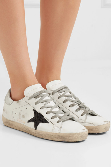Golden Goose Deluxe Brand Superstar Sneakers Of Leather In Distressed-optics With Glitter-finish